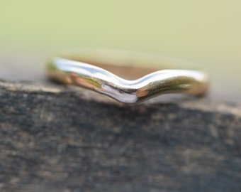 Curved wedding band, fitted wedding band, wedding ring, add a wedding ring, wishbone wedding ring, wave wedding gold, ladies ring for her