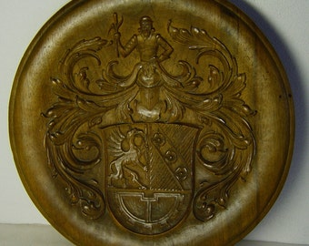large carved wooden bowl signed WW 1946