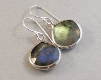 Two Moon,Moon Earrings Genuine Labradorite,Earrings,Real Labradorite,Labradorite Earrings,Birthstone,Birthstone Earrings,SeaMaidenJewelry