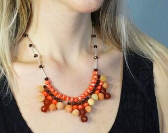 Orange Brown Fringe Necklace - Orange Quartz Necklace - Fall Necklace - Fall Jewelry - Boho Chic Jewelry - Fringe Jewelry - Brown Fringe
