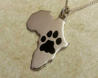 Silver Africa with Lion's Paw print (Choose your COLOR)