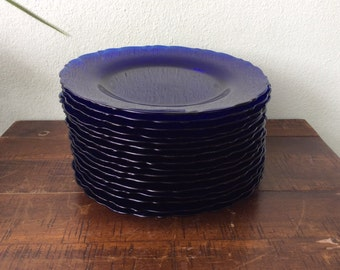 Cobalt Blue Glass salad plate, Vintage French Duralex Vereco, Rivage Swirled Pattern, salad plates, dessert plates, sold individually