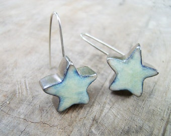 Dangle earrings , ceramic earrings, white stars , sterling silver wire
