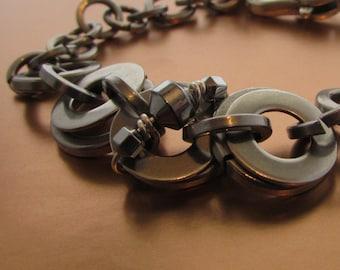 Industrial Peace - Unisex Bracelet in Stainless Steel -