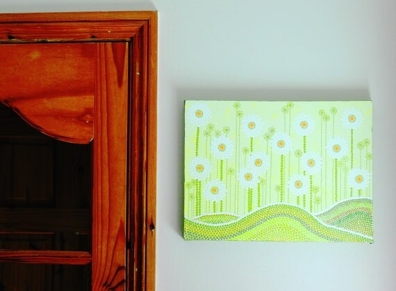 Mandala canvas wall art painting. Daisies original hand painted. Modern contemporary Hippy dot art. House & Home decor. Gift ideas handmade