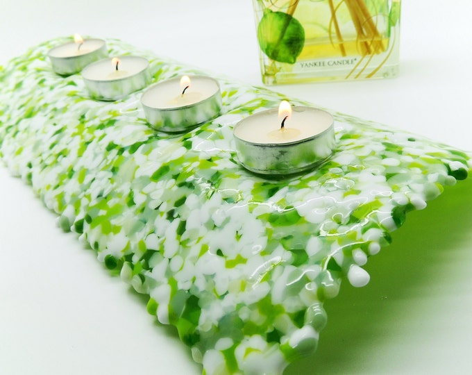 Green cream glass candle holder. Fused glass tealight stand. Home & living gift ideas. Table centre decoration. Housewarming, wedding ideas