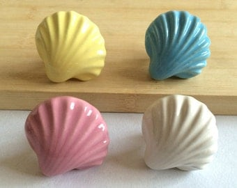 Colorful Shell Drawer Knob Dresser Pulls Handles Large Cabinet Door Knob Handles Nautical Sea Blue White Pink Yellow Decorative