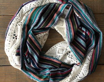 Colorful Tribal Woven and Lace Infinity Scarf
