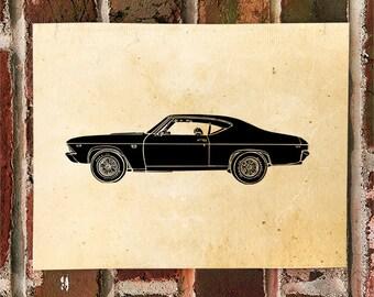KillerBeeMoto: Limited Print Hot Rod Muscle Car Super Sport SS Automotive Print 1 of 50