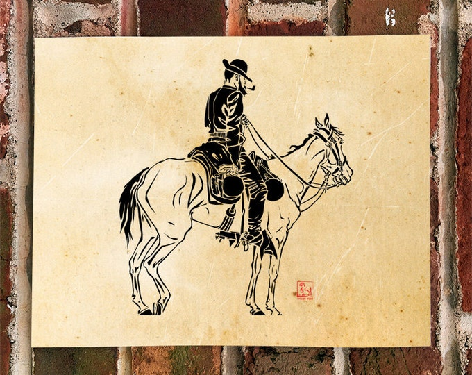 KillerBeeMoto: Limited Release Print of Cowboy On Horse 1 of 50