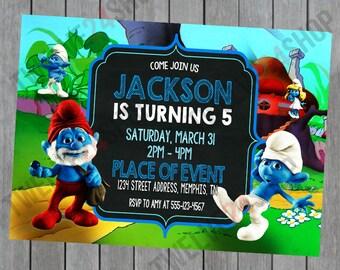 The Smurfs Birthday Invitation - The Smurfs Birthday - Smurfs Birthday - The Smurfs Party - Smurfette Birthday