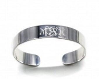 Monogrammed Cuff Bracelet, Silver Bracelet