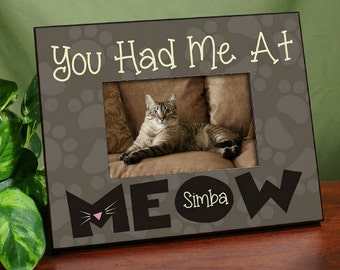Personalized Cat Picture Frame, Cat Frame, Picture Frame, Meow Frame