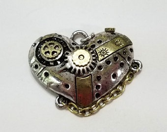 Antique Gold and Silver Heart, Two tone, Steampunk, Finding, Watch Gears, Pendant, Chain, Jewelry, Beading, Supply, Supplies