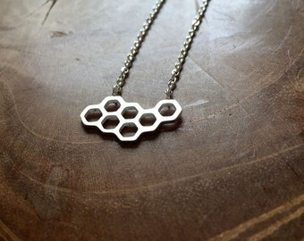 Honeycomb - necklace with a geometric honeycomb. Silvertone, cute, geo, geometric, honeycomb, summer, trend, hipster, modern