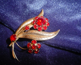 Vintage Gold Floral Brooch with Red Rhinestone Flowers