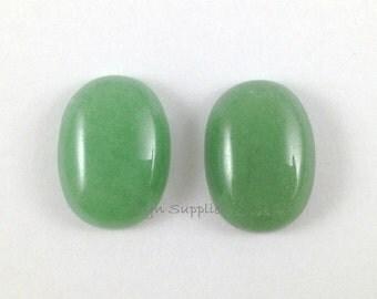 Green Aventurine Cabochon 18x13mm Light Green Jade Gemstone 2pcs