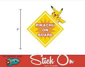 Pikachu on Board Pokemon Decal - Baby on Board Pikachu Pokemon Decal