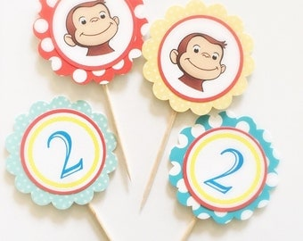 CURIOUS GEORGE, POLKA Dot Gift Tags/Cupcake Toppers (12ct)