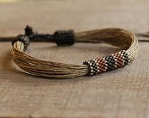 Linen bracelet for men Surfer men's bracelet Natural mens jewelry Organic gift for husband Bracelets for men
