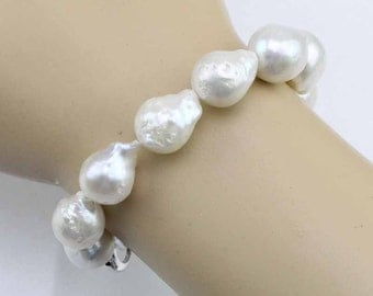 White baroque pearl bracelet,12-14mm large flameball pearl bracelet,big size jumbo nucleated pearl bracelet,christmas gift for mother
