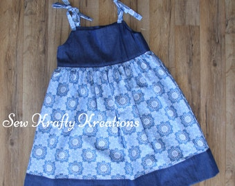 Girl's Dress - Blue Flower Bandana Print with Denim - Tie Shoulder Sun Dress