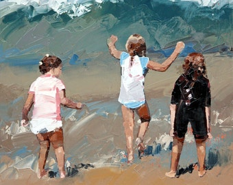 Original painting, impressionist painting, oil painting, wall art, beach scene, painting, titled 'Braving The Waves II'. Ready to hang.
