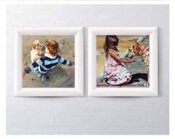 Puppy Love Collection, Baby's Room Art, Child's Room Art, Impressionist Art, Childhood Memories Art, Puppy Dog Art, Photo Paper Prints.