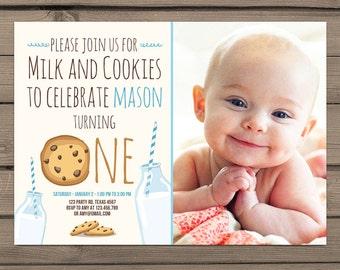 Milk and Cookies Invitation Blue Boy Birthday Chip cookies Milk and cookies party Milk cookies Birthday invite Digital PRINTABLE ANY AGE