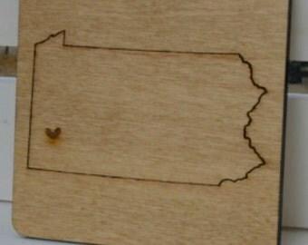 Pittsburgh, Pennsylvania Love Coasters-Laser Cut Wood