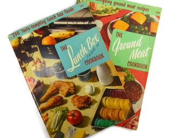 Culinary Arts Institute Lunch Box and Ground Meat Cookbooks Vintage Kitchen Meal Menu Planning Recipes Chicago IL