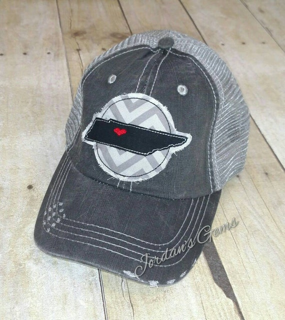 Nashville tennessee distressed embroidered trucker hat