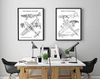 "P-51 Mustang and B-17 Flying Fortress wall art set of 2, Instant Download, P-51 Mustang Blue Print, B-17 Blue Print, Set of 2, 8x10"", 11x14"""