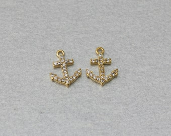 Anchor Brass Pendant . Polished Gold Plated . 10 Pieces / C7005G-010