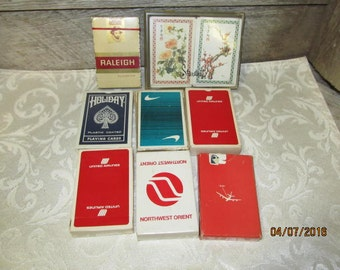 Assortment lot of 8 Decks of Vintage Playing Cards Raleigh Northwest Orient Airlines United