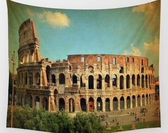 Rome Colosseum Wall Tapestry, Rome Wall Art, Italy Photo Tapestry, Living Room Wall Art, Travel Art, Dorm