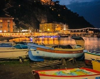 Sorrento Boats Photography, Italy Photography, Sorrento, Boats, Night, Nautical, Fine Art Photography, Art Print, Wall Art, Home Decor