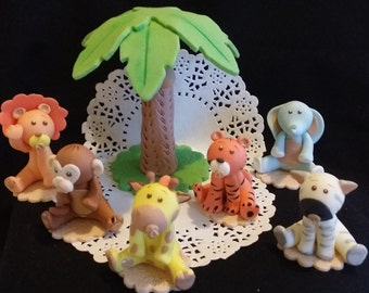 Jungle Cake Topper, Jungle cute Animals, Jungle Baby Shower, Elephant Cake Topper, Monkey Cake Topper, Zoo Birthday, Safari Baby Shower