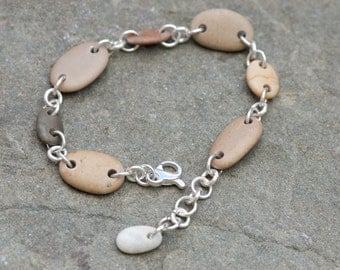 Beach Stone Bracelet, Drilled Beach Pebble Bracelet, Sterling Silver Link Bracelet, Adjustable Length Bracelet, Tan Bracelet Rustic Bracelet