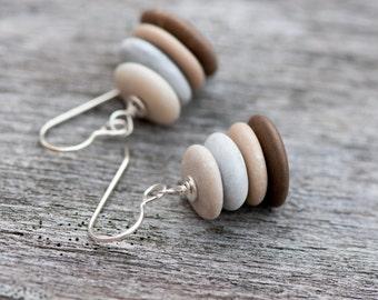 Stacked Beach Pebble Earrings, Petite Cairn Stone Earrings, Zen Earrings, Drilled Beach Stones, Beach Stone Earrings, Beige & Grey Earrings