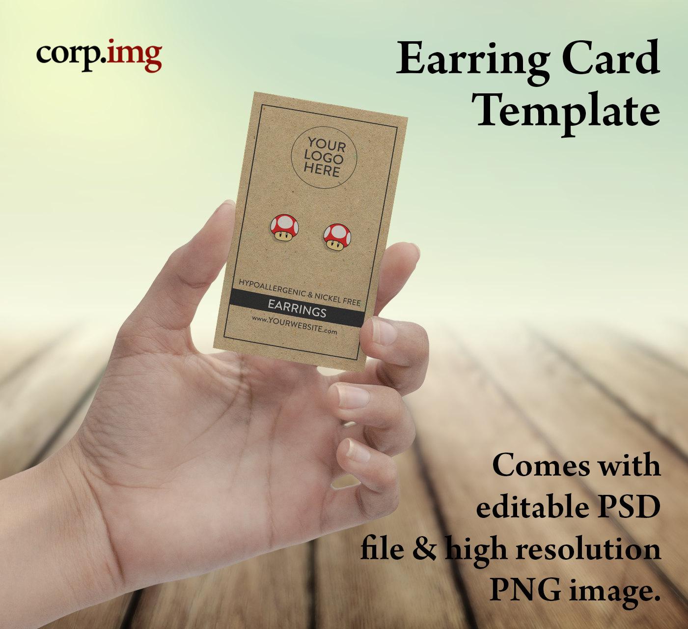 earring card template customizable printable single sided