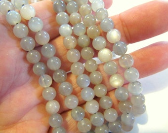 Gemstone Beads Moonstone, Round, 6 MM, 16 Inch Strand, 63 Beads, Iridescent Greys & Peach, Jewelry Beads, Beading Supplies