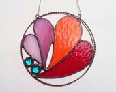 Stained Glass Round Pendant. Hearts. Pink,Red. Home Decor. DizArtEx.
