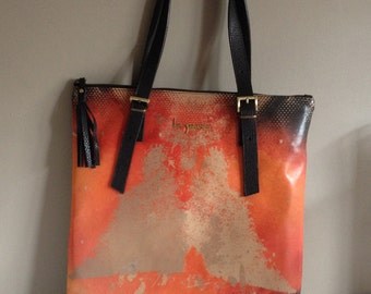 Orange Tote Bag Leather Shoulder Bag Abstract Art Design Tote Bag Orange Fashion Tote Flat Shoulder Bag Designer Tote Orange Handbag