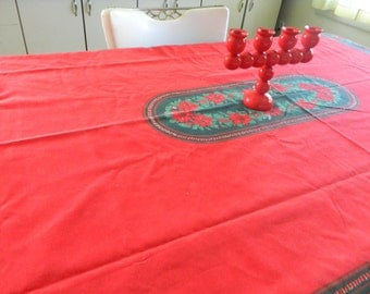 Red Christmas tablecloth with poinsettias / 51  x  70