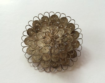 Vintage Silver Wire Flower Brooch