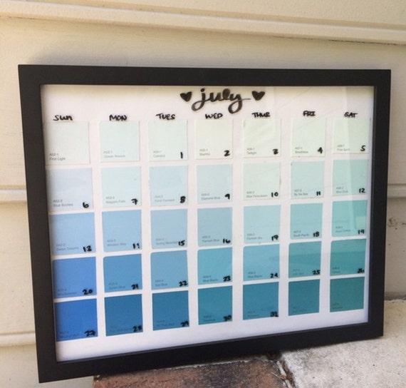 Paint Sample Calendar Diy : Wall calendar dry erase paint sample