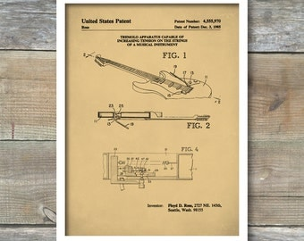 Patent Poster, Floyd Rose Tremolo Guitar, Guitar Art, Electric Guitar, Musician Gift, Music Room Wall Art, P339