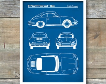 Patent Print, Porsche 356 Coupe Blueprint, Porsche 356 Poster, Porsche 356 Art, Porsche 356 Decor, P263