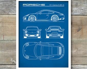 Patent Print, Porsche 911 Carrera S (991) Blueprint, Porsche 911 Poster, Porsche 911 Art, Porsche 911 Decor, P290